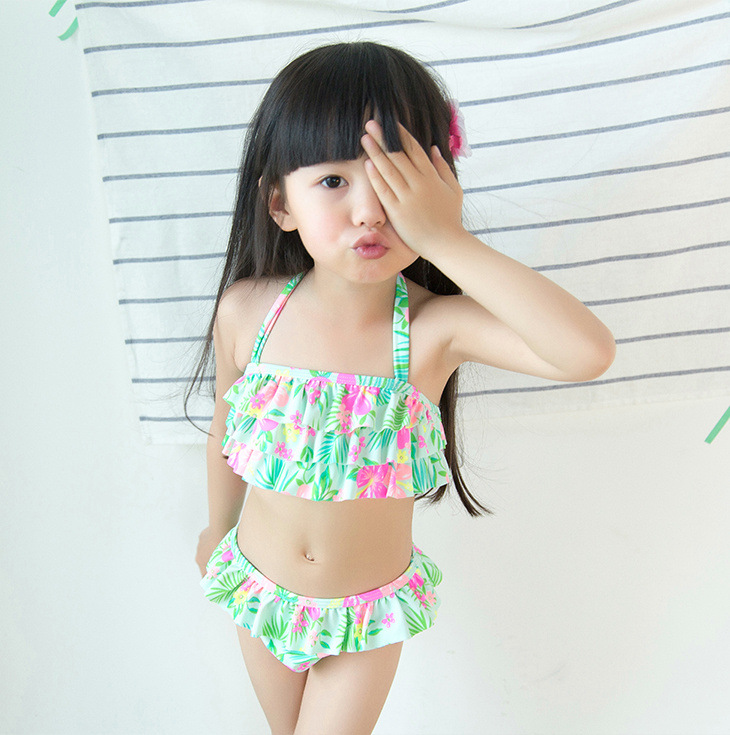 2019 Hot Selling KID'S Swimwear Infants Small Children GIRL'S Green Flower Cake Cute Split Type Hot Springs Swimwear