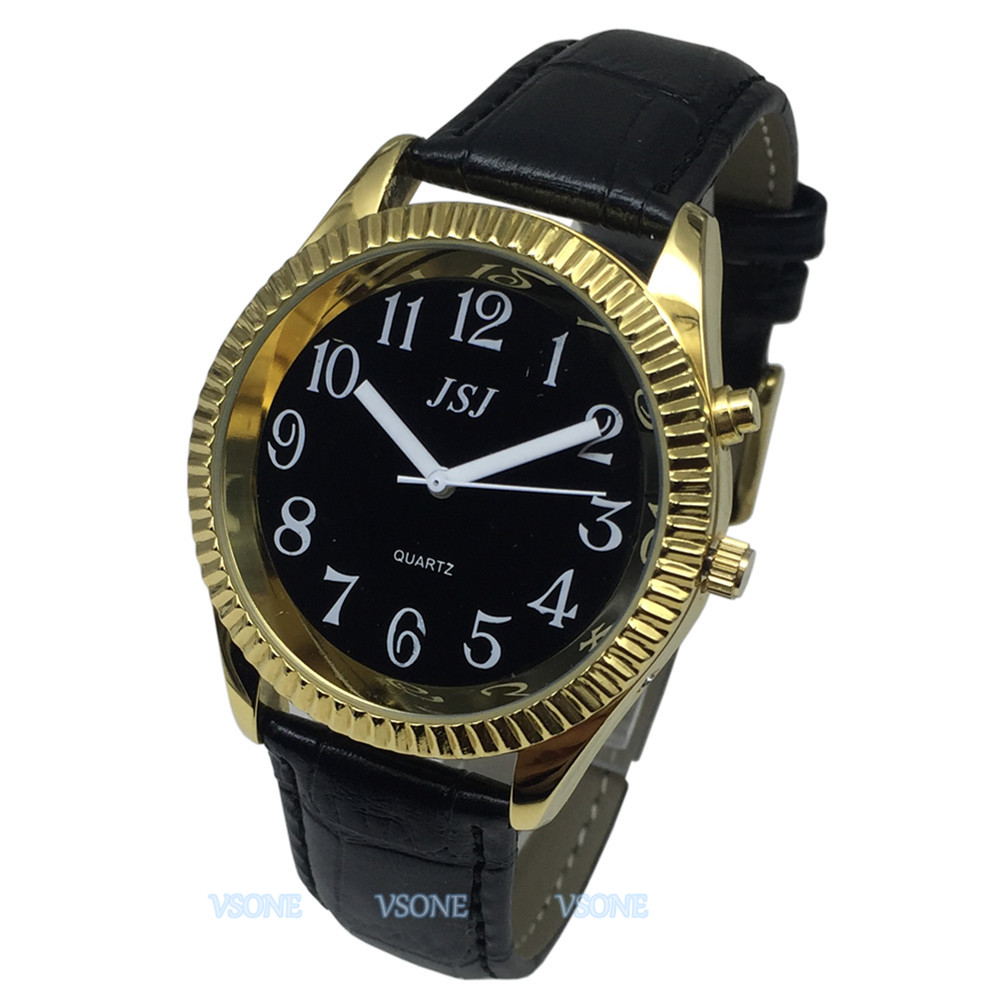French Talking Watch With Alarm Function, Talking Date And Time, Black Dial, Black Leather Band, Golden Case TAF-307
