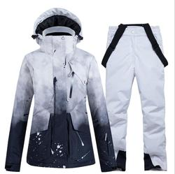 -30 trajes de esquí para mujer, ropa de snowboard, conjunto de traje de nieve para invierno al aire libre, chaquetas impermeables con capucha y pantalones para nieve, traje para mujer
