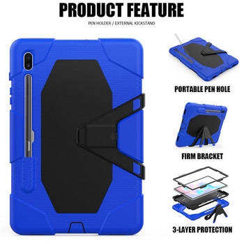 Tablet Case For Samsung Galaxy Tab S6 10.5 SM-T865 SM-T860 T865 T860 Kids Safe Shockproof Heavy Duty Silicone Hard Stand Holder for samsung galaxy tab s6 10 5 sm t860 t865 case with pen holder pc silicone 3 layers anti fall tablet protector cover funda