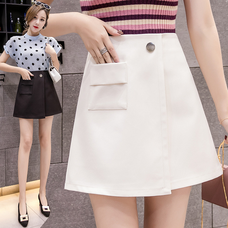 Pocket Skirt Women's 2019 Spring Summer New Style High-waisted Tailored Skirt Suit Short Skirt Sheath Skirt With Lining