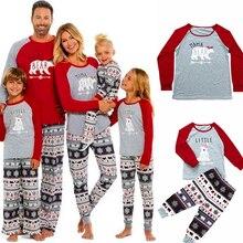 Семейный Рождественский пижамный комплект, одежда для сна для всей семьи, папы, мамы и детей г. Рождественский семейный образ, Топы+ штаны, 2 предмета, семейная одежда, одежда для сна