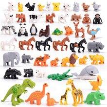 Tamanho grande animais zoológico conjunto kits de blocos de construção brinquedo dinossauros baleias veados ovelhas cão brinquedos para crianças natal crianças presentes