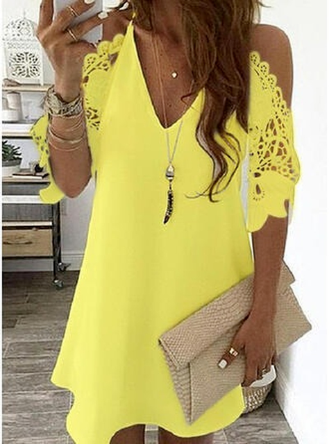 Women's Lace Splicing Dress V-neck Off Shoulder Sling Mini Dress Solid Color Casual  Hollow out Sleeve Dress 2