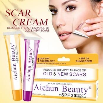 Acne Scar Removal Cream Gel Skin Repair Face Cream Spots Acne Treatment Anti Wrinkle Whitening Facial Cream Stretch Mark +SPF 30