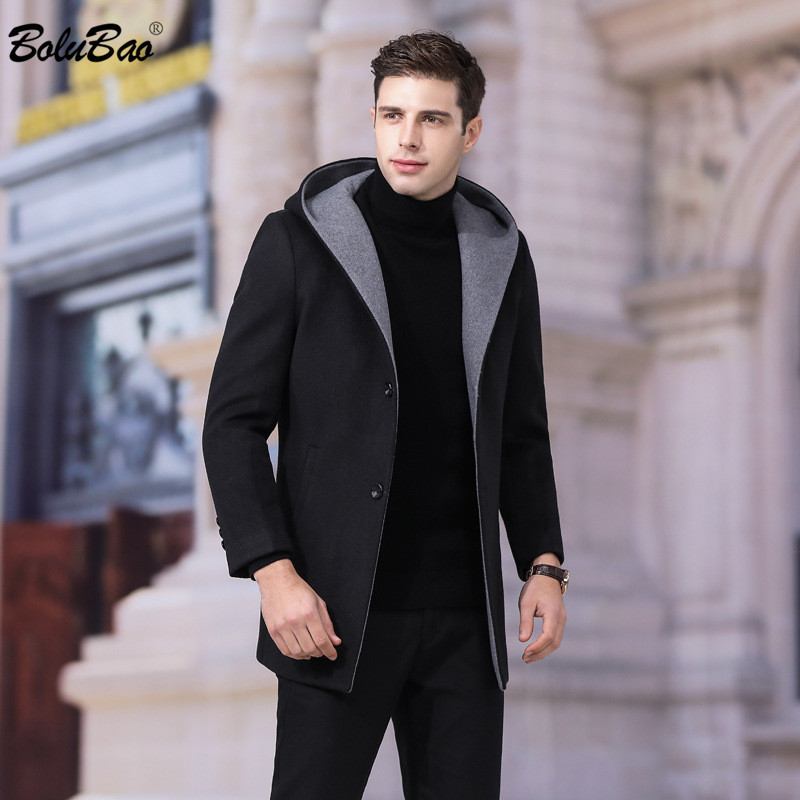 BOLUBAO New Wool Blends Coats Men Winter Brand Men's Solid Color Long Section Trench Overcoat Casual Hooded Wool Blend Coat