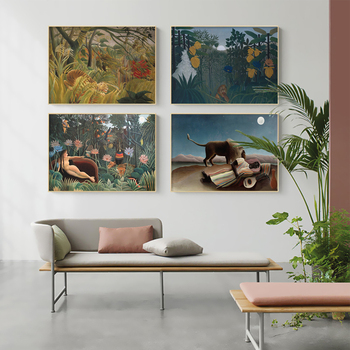 Abstract The Sleeping Gypsy by Henri Rousseau (1844-1910) Canvas Art Print Wall Pictures Canvas Painting Posters for Home Decor image