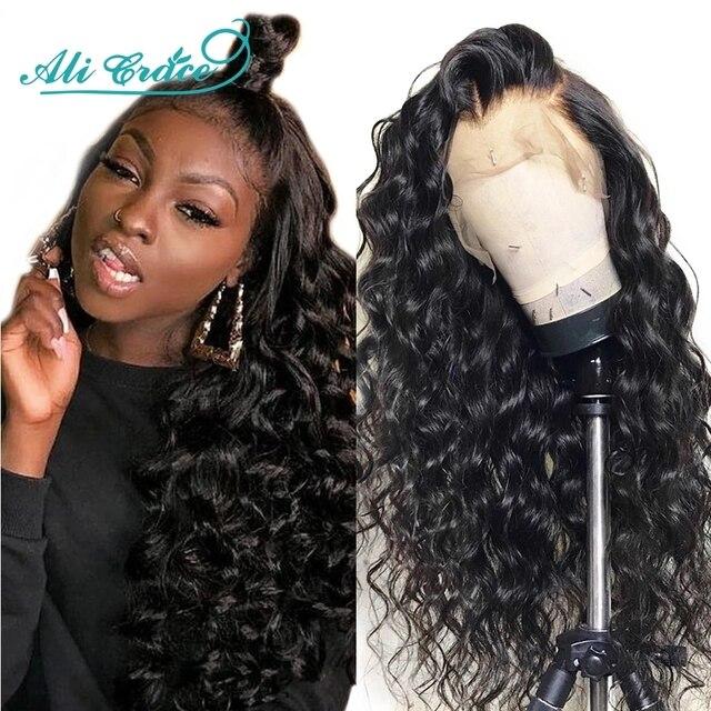 Ali Grace saç peruk brezilyalı gevşek dalga dantel ön İnsan saç peruk 360 ön koparıp dantel Frontal gevşek dalga peruk ile bebek saç