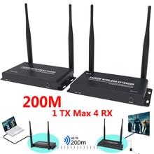 200M Truyền Dẫn Không Dây HDMI Thu Phát Thu Phát HD Bộ Mở Rộng Sang Video Một Đa Năng 1X3 1X4 Bộ Chia