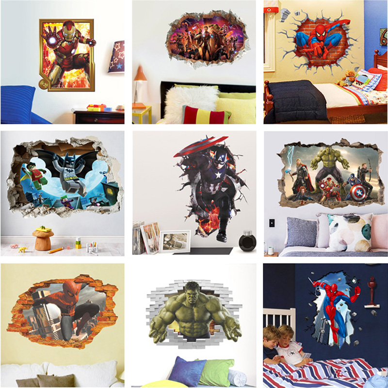 Marvel Super Heros 3D effect Wall Stickers Kids Home Decor Spiderman Batman Ironman Hulk Avengers Mural Art Decals