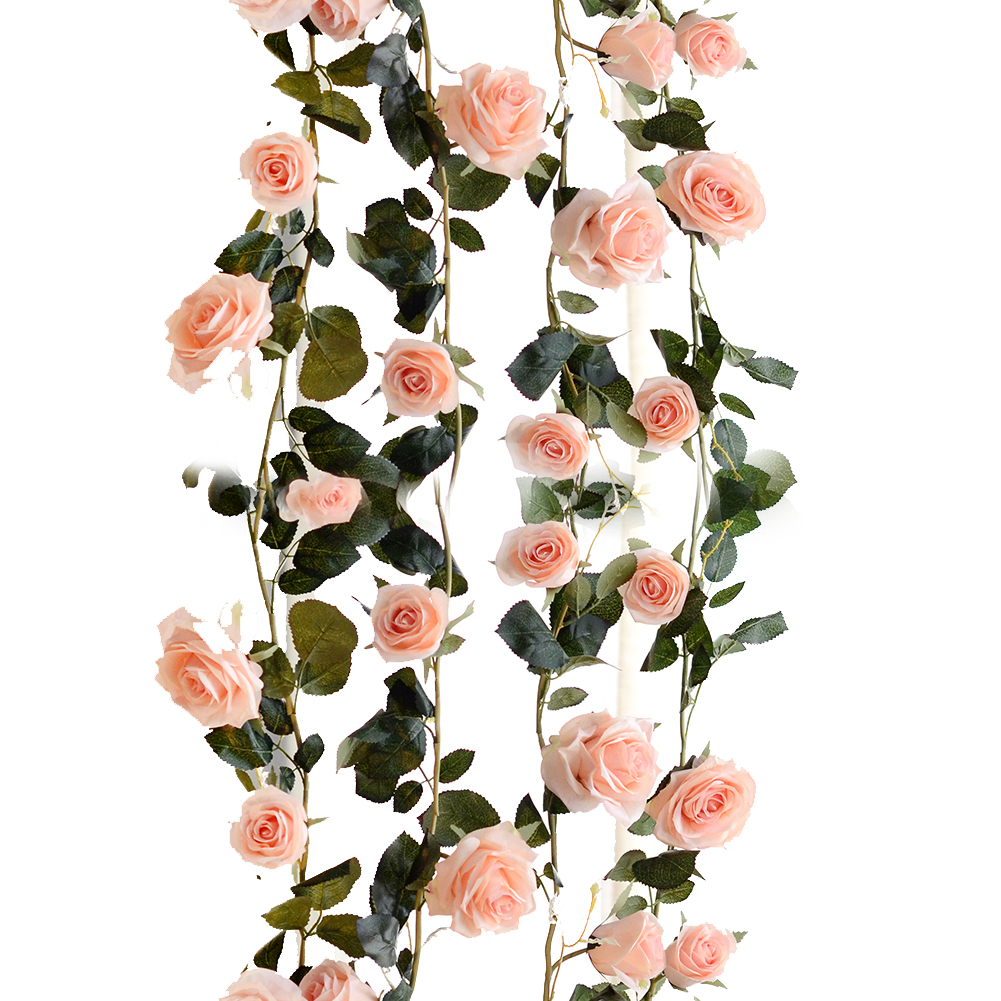 180cm Silk Roses Ivy Vine With Green Leaves For Home Wedding Decoration Fake Leaf Diy Hanging Garland Artificial Flowers in Artificial Dried Flowers from Home Garden