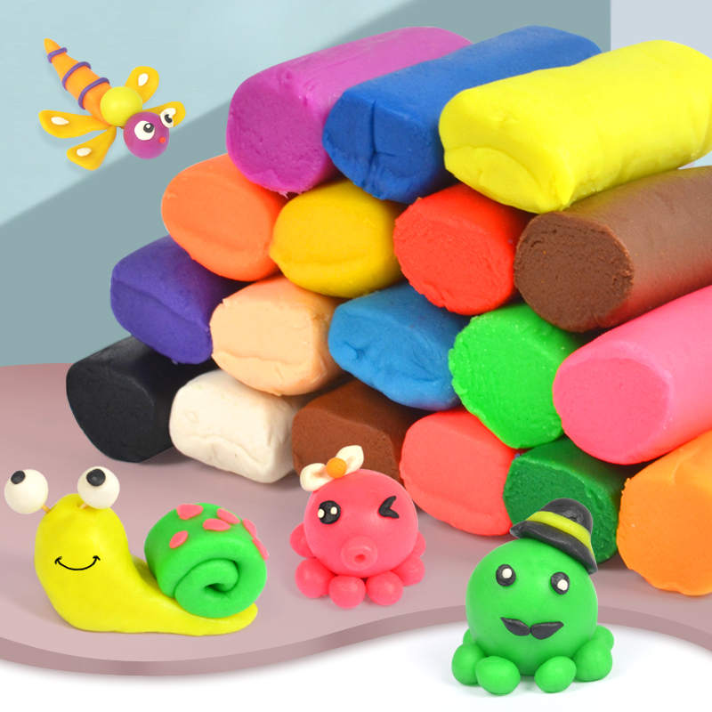 24 Colors Playdough Air Dry Clay Polymer Caly Tools Modelling Light DIY Plasticine Learning Kids Toys Plasticine Soft Blue Clay