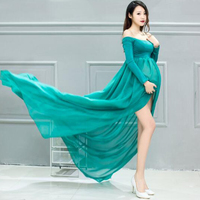 Long Sexy Maternity Dresses For Photo Shoot Chiffon Maternity Photography Dress Lace Open Front Pregnancy Dress 2019 Summer