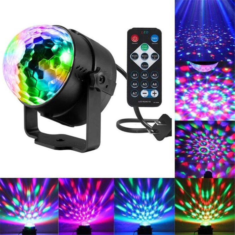 New Voice Control RGB LED Stage Lamps Crystal Magic Ball Laser Stage Effect Light Home Party Disco DJ Lights Glow Party Supplies