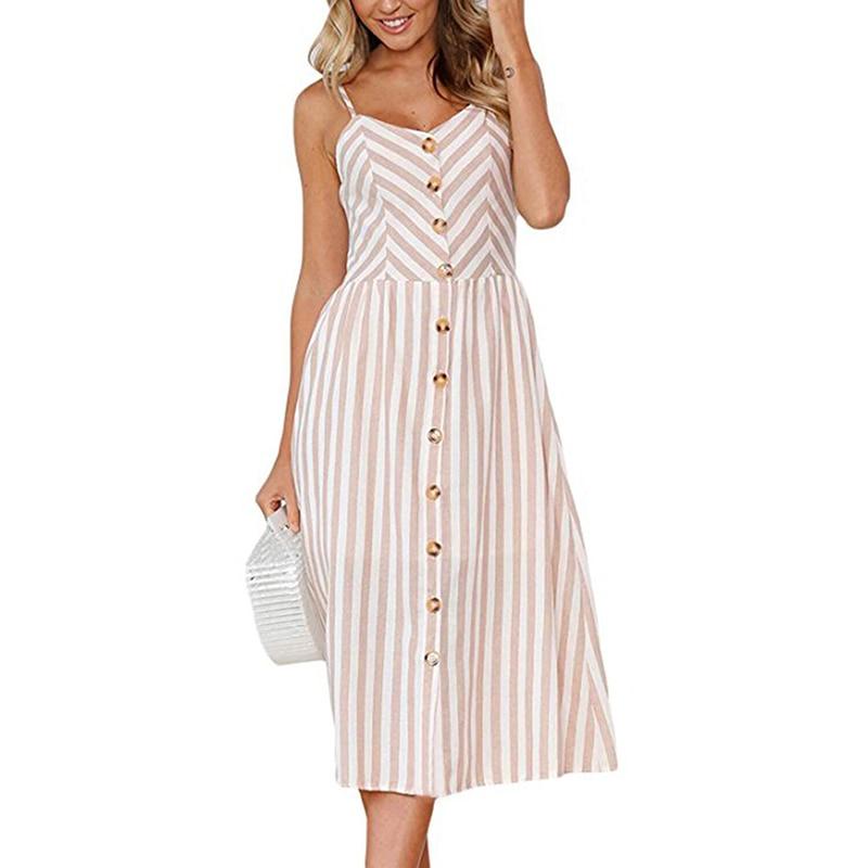 Boho Sexy Floral Dress Summer Vintage Casual Sundress Female Beach Dress Midi Button Backless Polka Dot Striped Women Dress2020  30