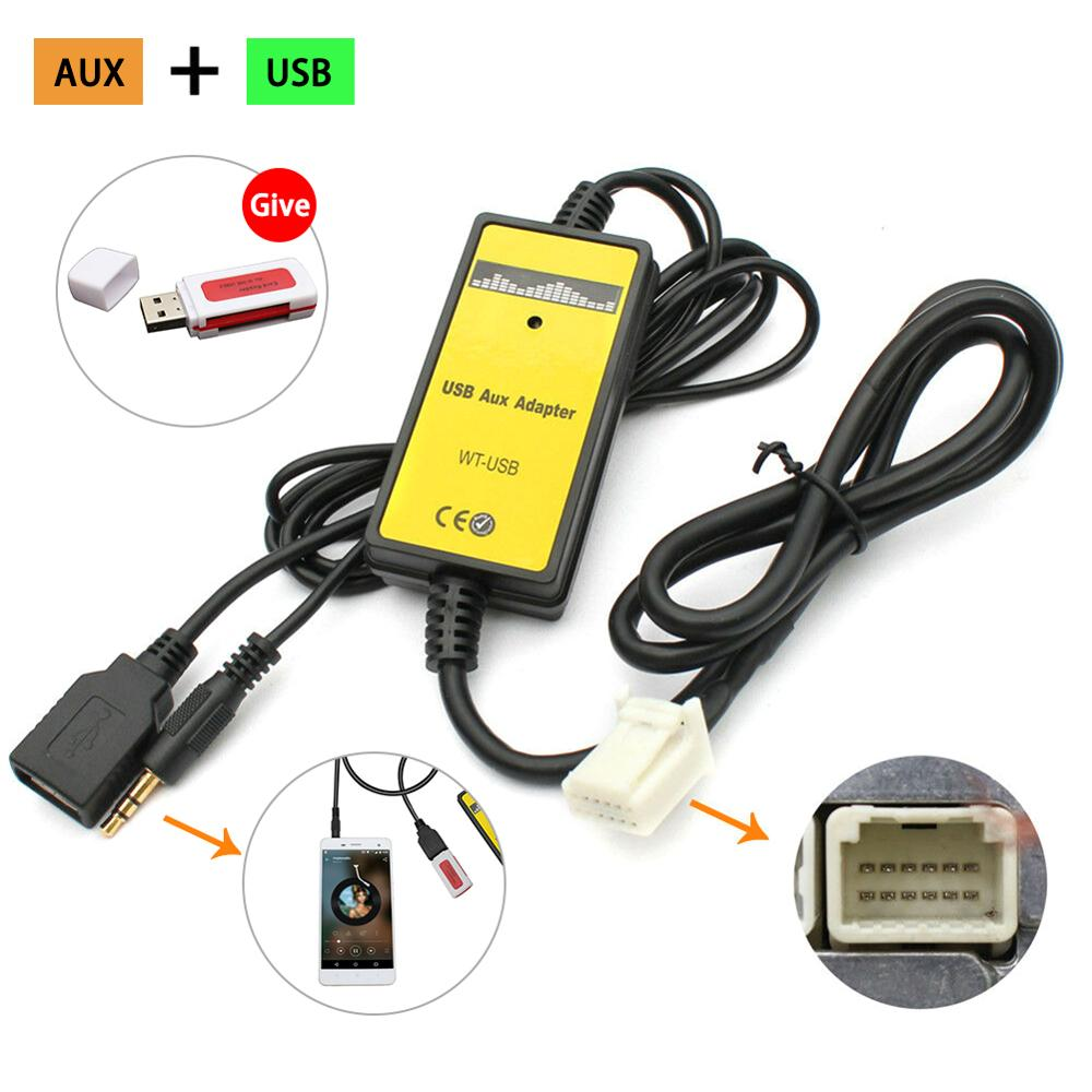 USB AUX MP3 Interface Adapter 12V Car MP3 Player Radio For Toyota Camry 6+6pin 3.5mm Jack Cables Sockets USB Car Adapter