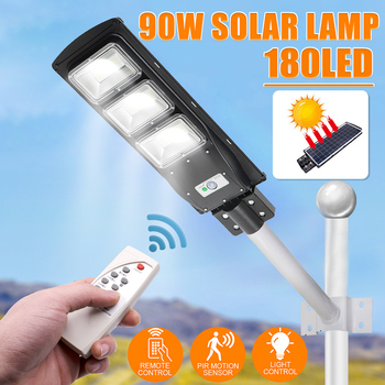 90W LED Solar Wall Lamp Street Light Radar-Induction Outdoor Timing Lamp+Remote Waterproof Security Lamp for Garden Yard