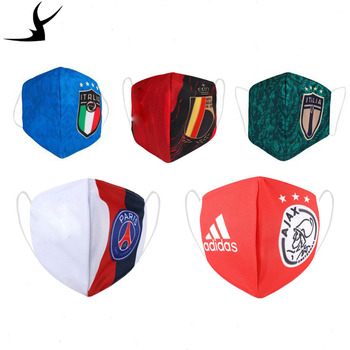 Football Dust Respirator Real Madrid Adult Sports Football Printing Dustproof Washable Haze-Resistant Mask