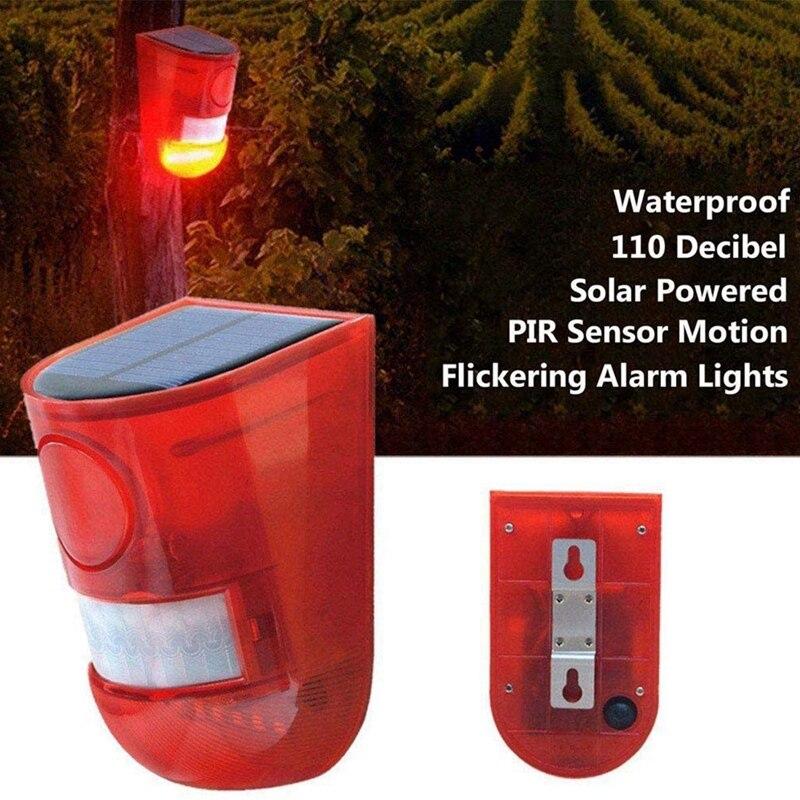 cheapest 4Pcs Solar Lamp 110DB PIR Rechargeable Waterproof LED Sound Alarm IP65 Motion Sensor Outdoor Garden with Motion Sensor
