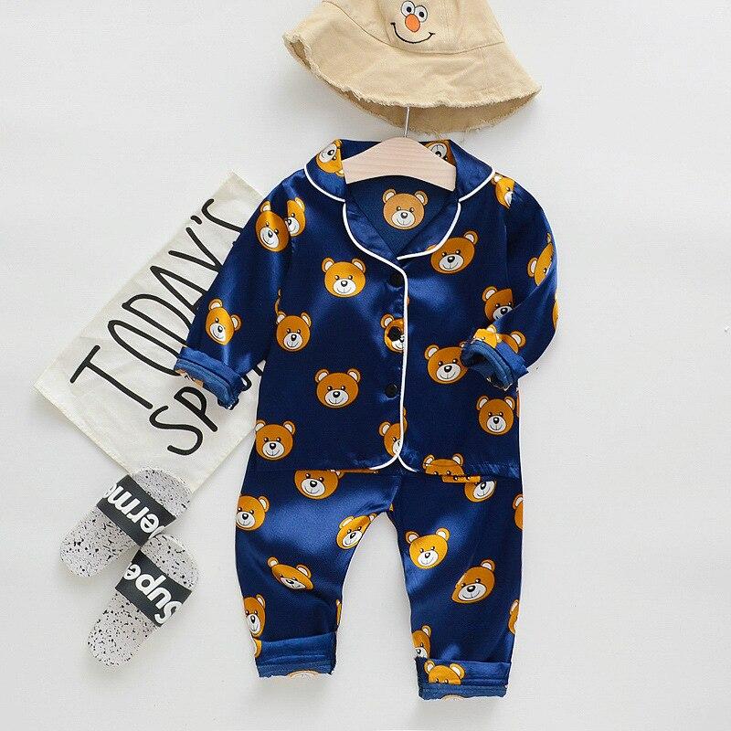 Fashion boutique little bear kids summer fall   pajamas   ice silk baby girl boys   set