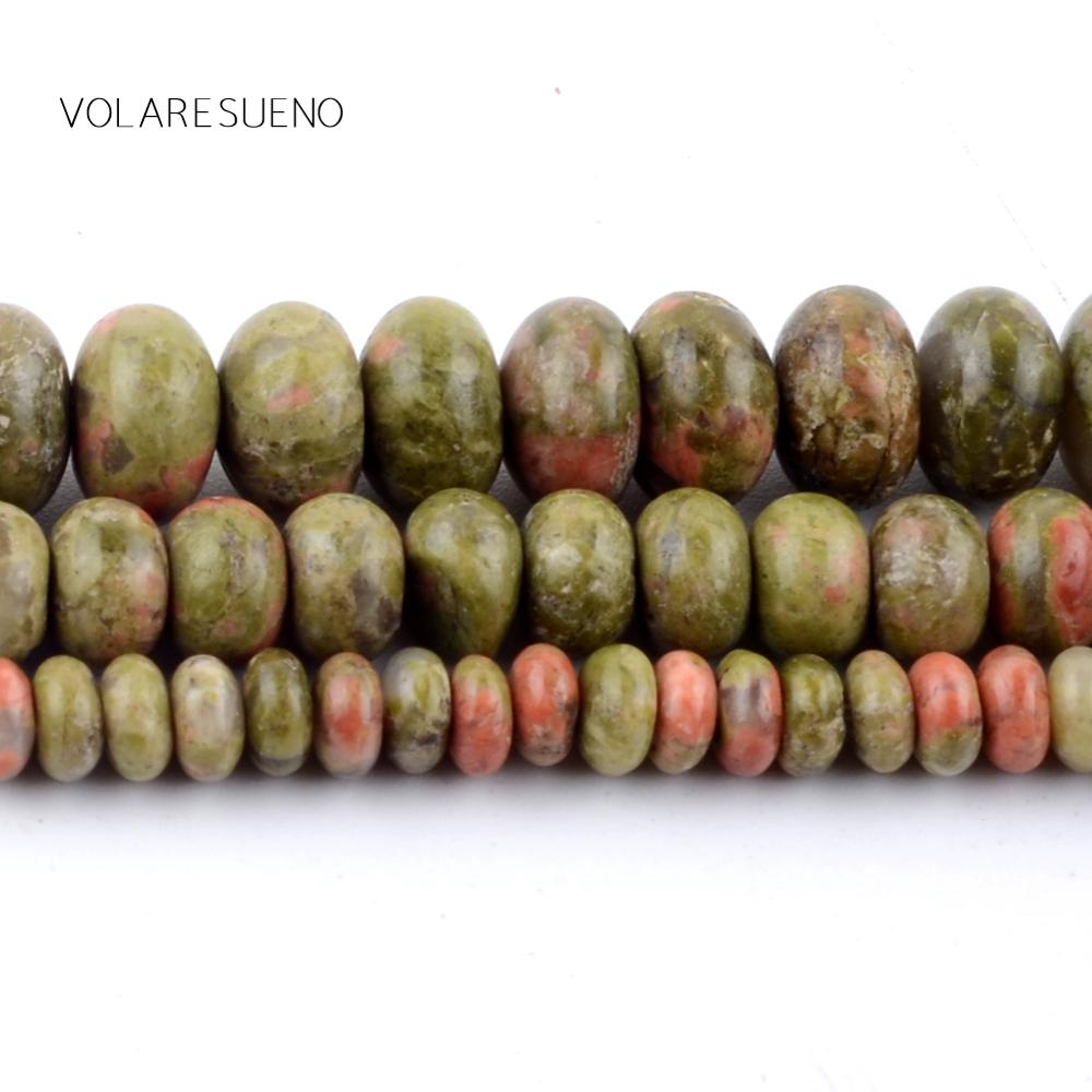 Natural Unakite Rondelle Stone Round Loose Beads For Jewelry Making 4-8mm Spacer Fit Diy Bracelets Necklace Accessory 15