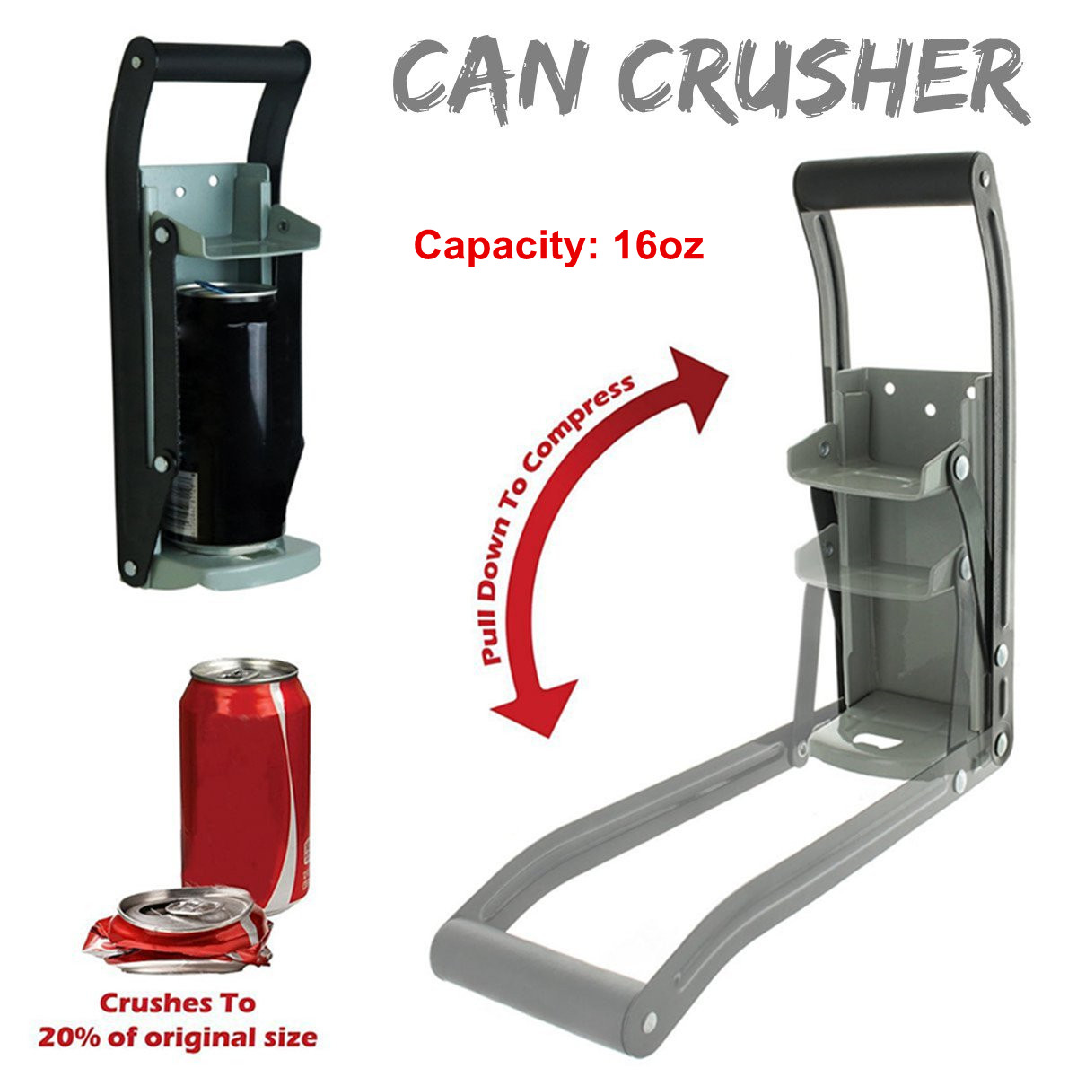 16 Ounces Heavy Duty Can Crusher Smasher Soda Beer Cola Budweiser Recycling Tool Home Dispensing Can Crusher Bottle Opener(China)