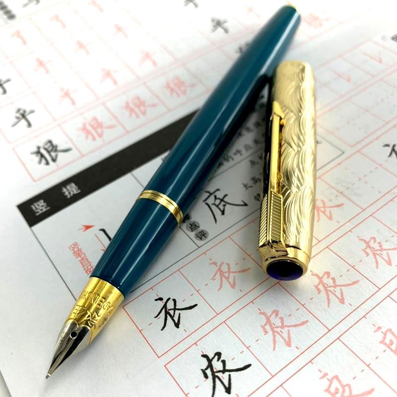 Fountain Pen Wing Sung 601A Wave Golden Cap Vacumatic Fountain Pen Fine Nib Solid Dark Blue Fine Nib School Office Supplies Gift