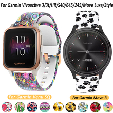 20mm Silicone Sport Strap Flower Printing Band For Garmin Forerunner 645/245/3/3t/S40/HR/Venu SQ/Move 3/Luxe/Style Accessories