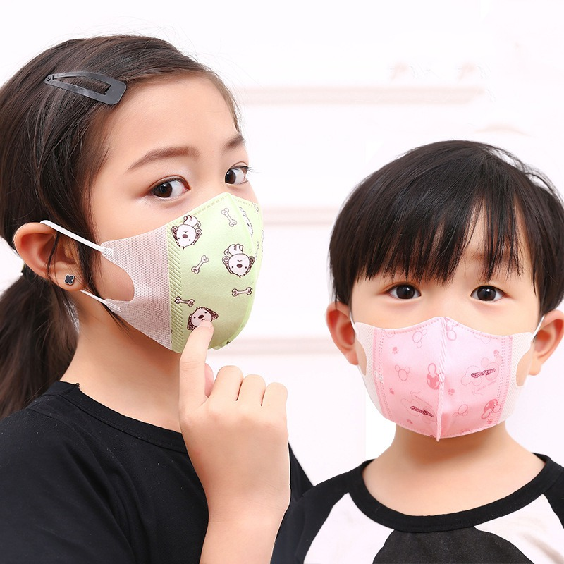 5pcs/lot Cartoon Printed Non Woven Mouth Face Masks Child Kids 