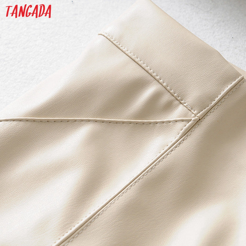 Tangada women white skinny PU leather pants stretch zipper female autumn winter pencil pants trousers 6A04 43