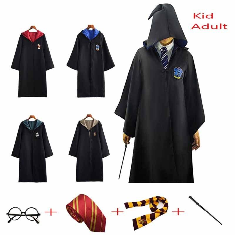 Детский Взрослый плащ на Хэллоуин, шарф Слизерин, коготь, халат Хаффлпафф, маскарадный костюм Поттера для мужчин и женщин, волшебный халат, костюм с шапкой| |   | АлиЭкспресс