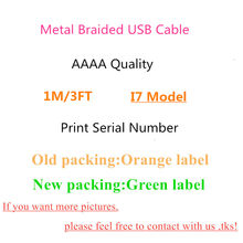 10pcs/lot High Quality Data Cable For i11 XR XS Max 7 8 6s Plus 5S 1m/3ft OD 3.0mm USB Charger Cable Metal Braided With new box(China)