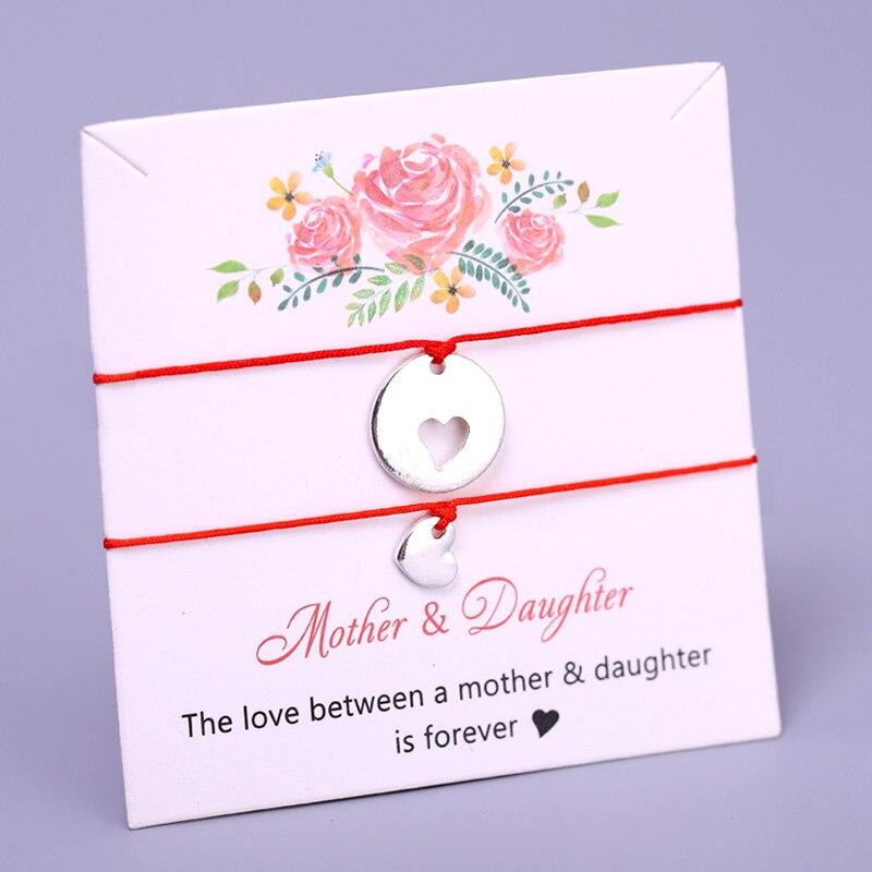 Набор-браслеты для мам и дочек, браслеты с сердечками для женщин и девочек, ювелирные изделия, рождественский подарок, Прямая поставка