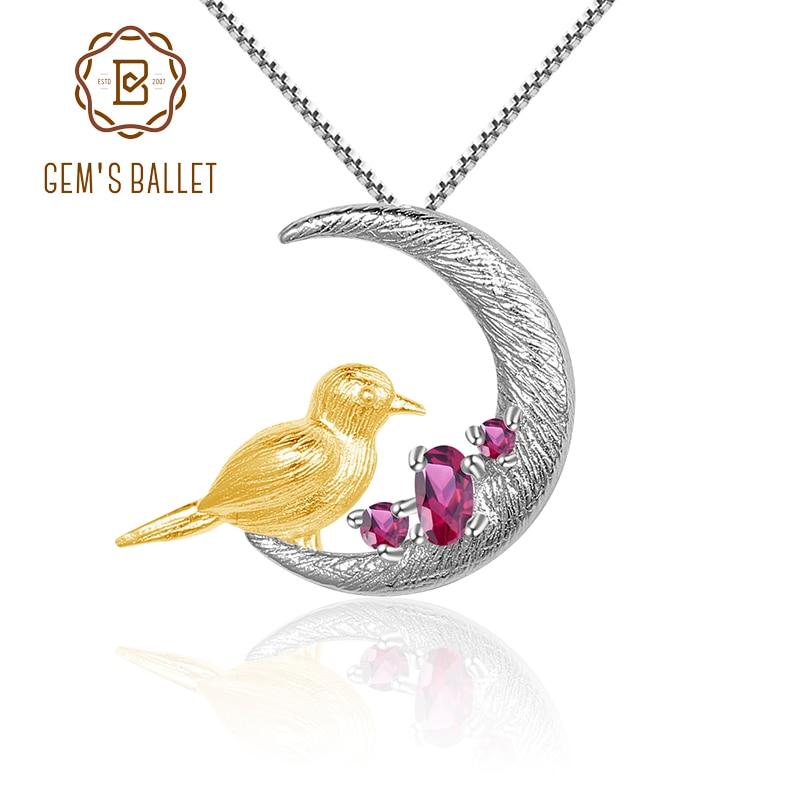 GEM'S BALLET 925 Sterling Silver Moon Bird Handmade Fine Jewelry Natural Rhodolite Garnet Gemstone Pendant Necklace For Women
