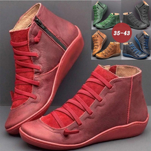 GAOKE 2020 New Women PU Leather Casual Ankle Boots Comfortable Quality Soft Hand
