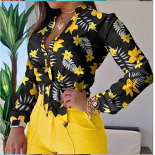 Shorts-Suit Street-Hipster 2piece-Set Shirt Printed Women Stand-Up-Collar New-Style Long-Sleeved