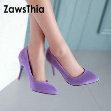 ZawsThia 10cm ince yüksek topuklu mor mavi kadın seksi ayakkabı pompaları üzerinde kayma kadınlar düğün stilettos bayanlar ayakkabı büyük boyutu 10 42 43