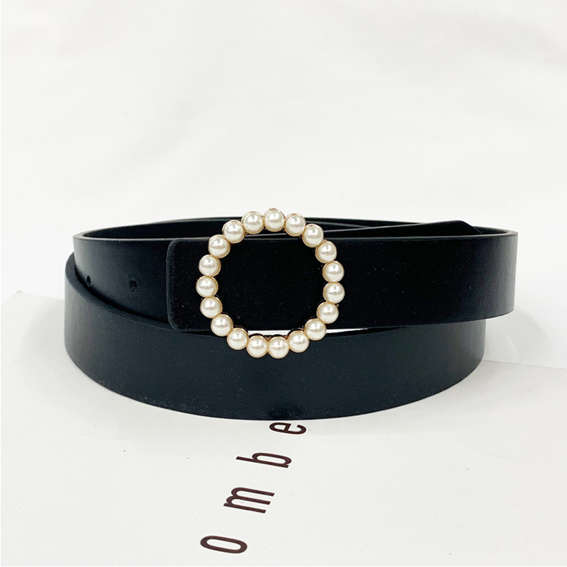 Leather Belt Women Waist Luxury Brand Black Red Cinturon Mujer Belts For Jeans Woman Pearl Studded Buckle Fashion Decorative