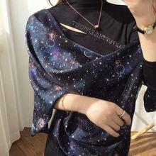 Star Print 100% Silk Scarf Shawl Wraps Women Charming Fashion Scarves