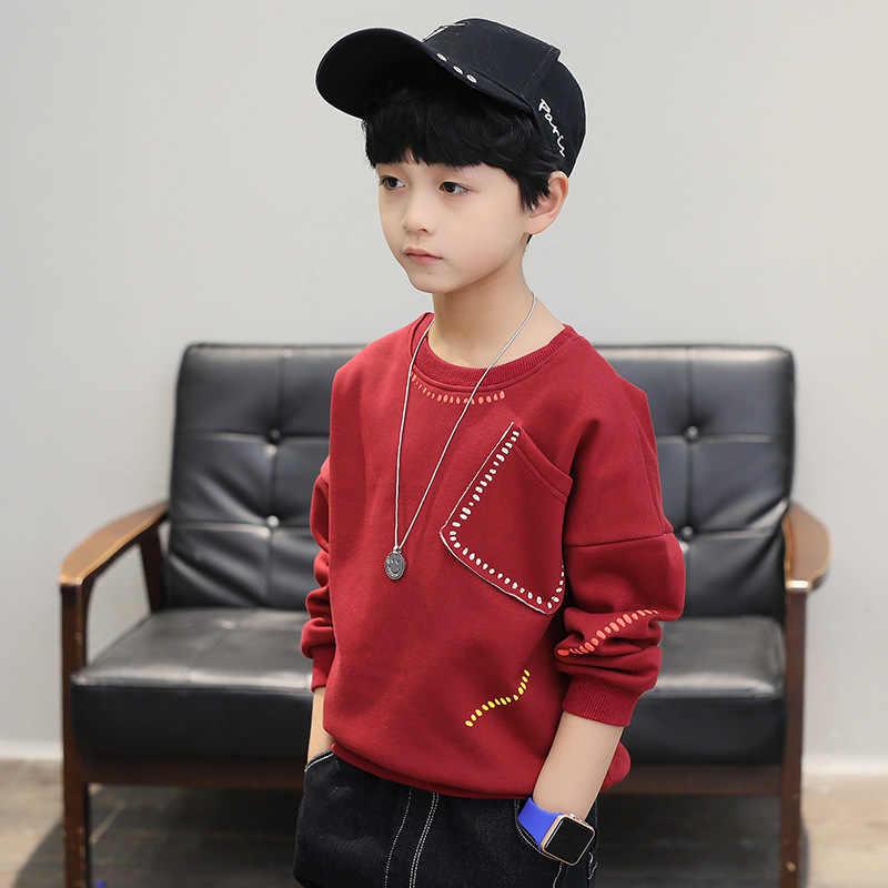 Nuovo 2019 ragazzi t-shirt bambini manica lunga tees top vestiti di cotone di autunno della molla solido di scuola dei bambini della maglietta dei ragazzi bambini vestiti