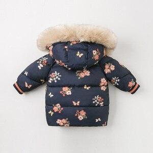Image 2 - DBJ11915 דייב bella חורף תינוק בנות ברדס פרחוני תינוק מעיל מרופד מעיל ילדים באיכות גבוהה מעיל ילדים מרופד הלבשה עליונה