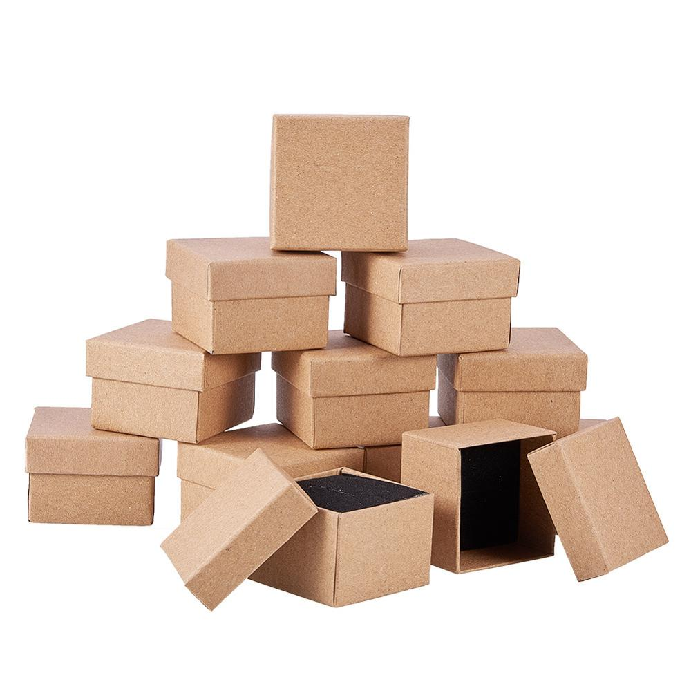 24pcs Retro Kraft Jewelry Box Gift Cardboard Boxes For Ring Necklace Earring Gift Jewelry Packaging With Sponge Inside