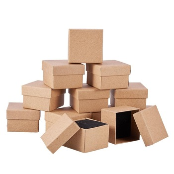 24pcs Retro Kraft Jewelry Box Gift Cardboard Boxes for Ring Necklace Earring Packaging with Sponge Inside