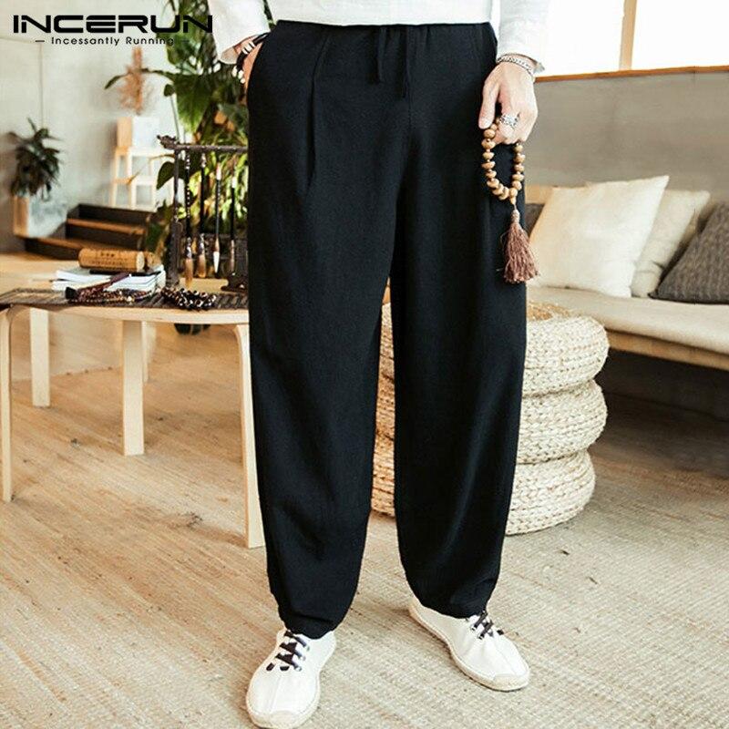 Cotton Men Pants Drawstring Solid Baggy Pockets Streetwear Retro Wide Leg Pants Joggers Harem Trousers Men INCERUN Plus Size 5XL