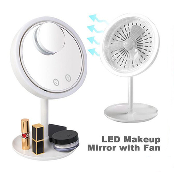 Makeup mirror led standing mirror touch screen vanity mirror backlit adjustable light desk cosmetic illuminated mirrors with fan frameless vanity mirror with light hollywood makeup lighted mirror 3color light cosmetic mirror adjustable touch screen 58 46cm