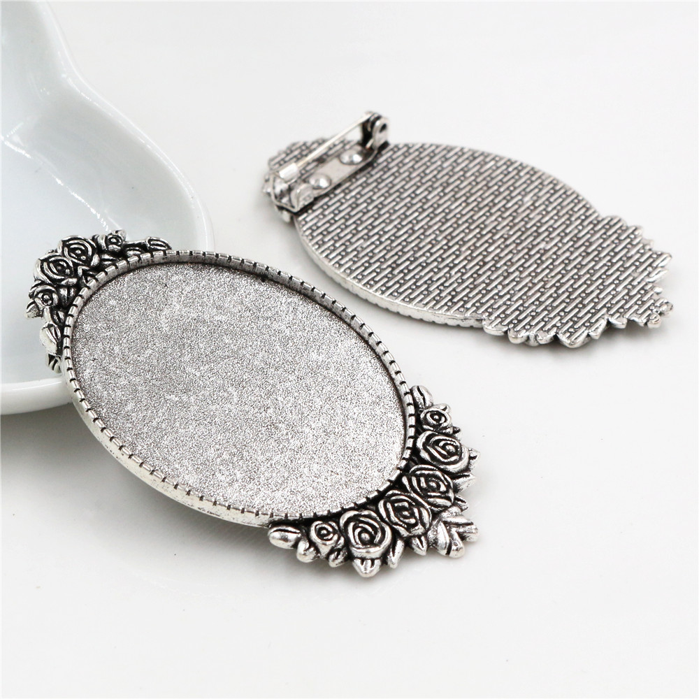 New Fashion  5pcs 30x40mm Inner Size Antique Silver Plated Pin Brooch Flowers Style Base Setting Pendant (B4-20)