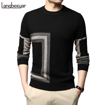 2021 New Fashion High End Designer Brand Mens Knit Black Wool Pullover Sweater Crew Neck Autum Winter Casual Jumper Mens Clothes 1