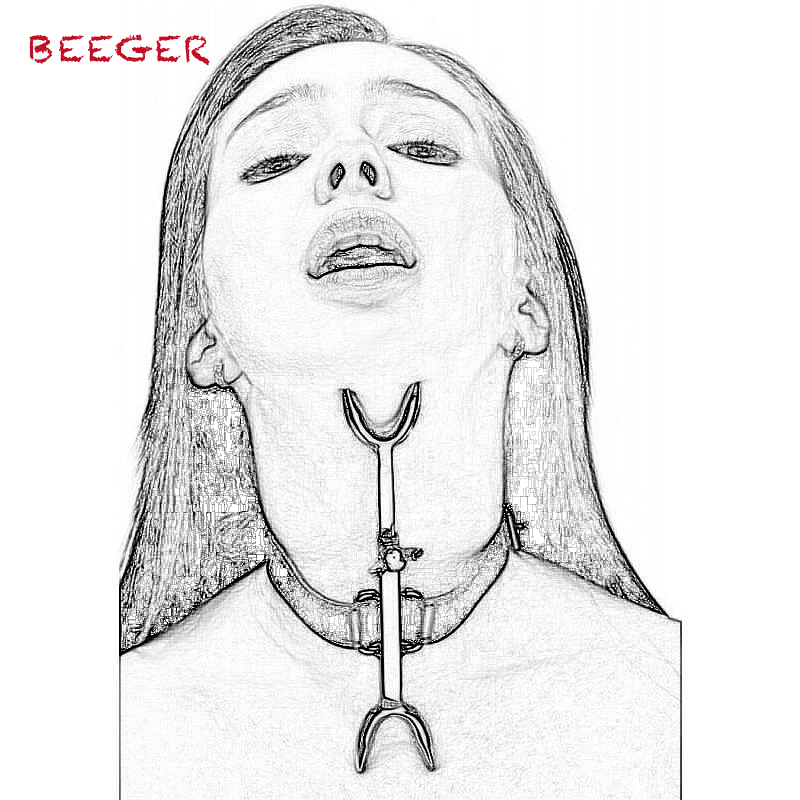BEEGER Sex Collar Leather Stainless Steel Heretics Fork Erotic Positioning Bandage Sex Toys For Men/Women Adult Game