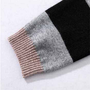 Autumn and winter fashion casual women's knit sweater pants suit knit sportswear color strip stitching wool knit suit 5