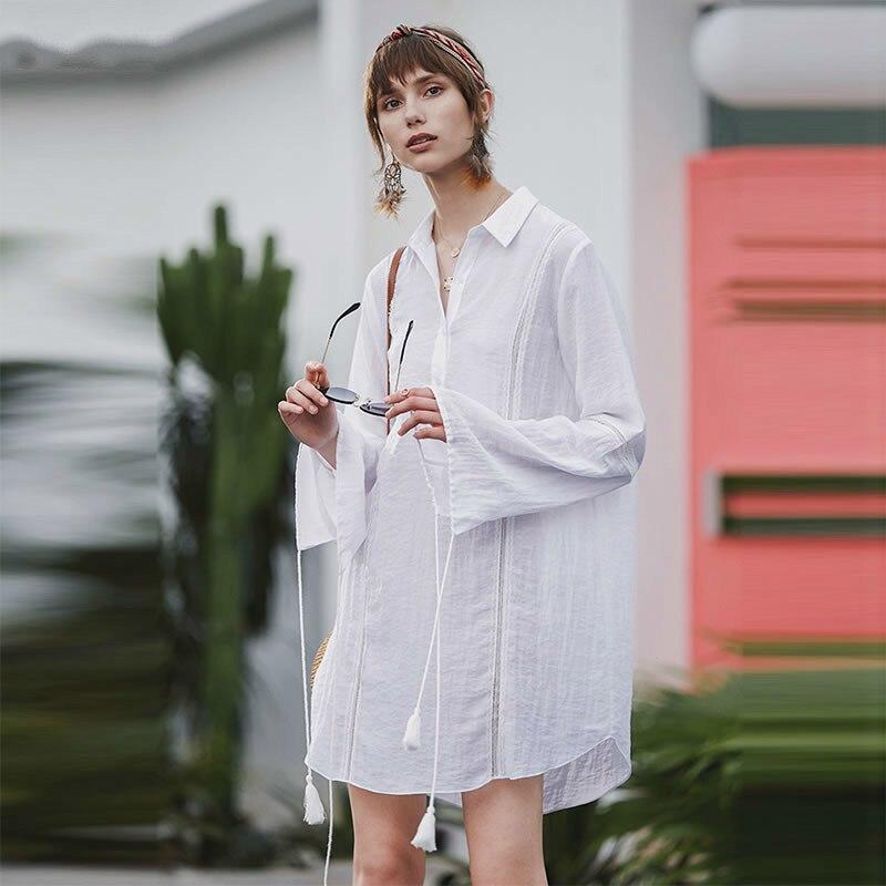 TVVOVVIN Patchwork Bandage correspondre à toutes les chemises blanches longue mode femmes vêtements 2019 col rabattu manches évasées Blouse Top D239
